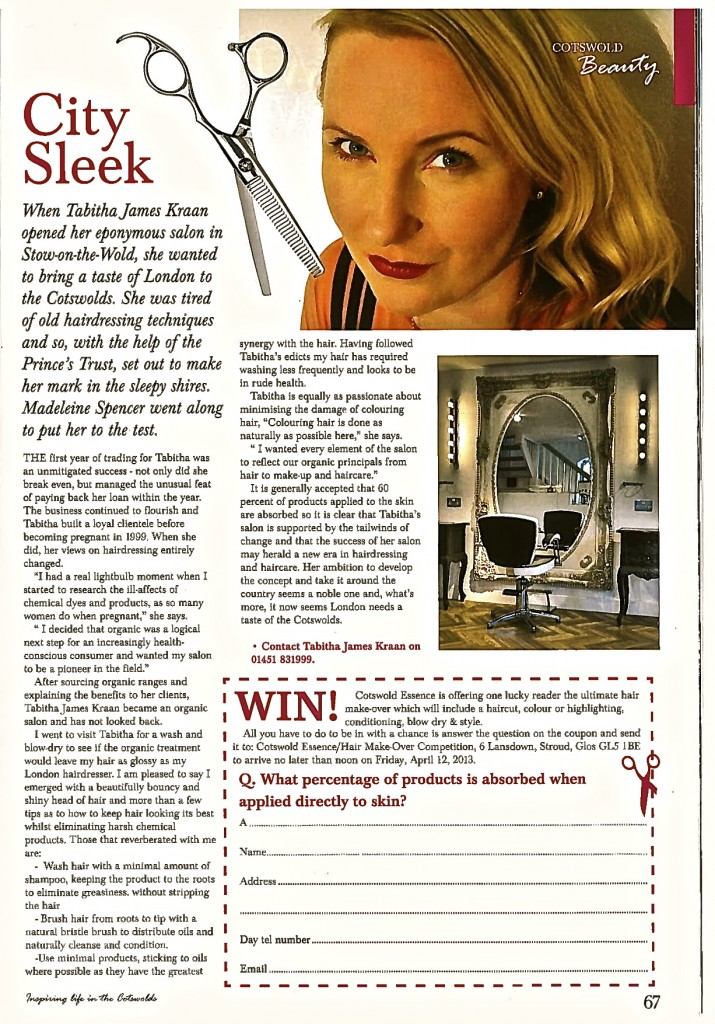 Tabitha James Kraan article by Madeleine Spencer in Cotswold Essence