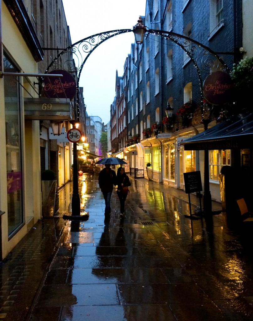 St Christopher's Place in the rain