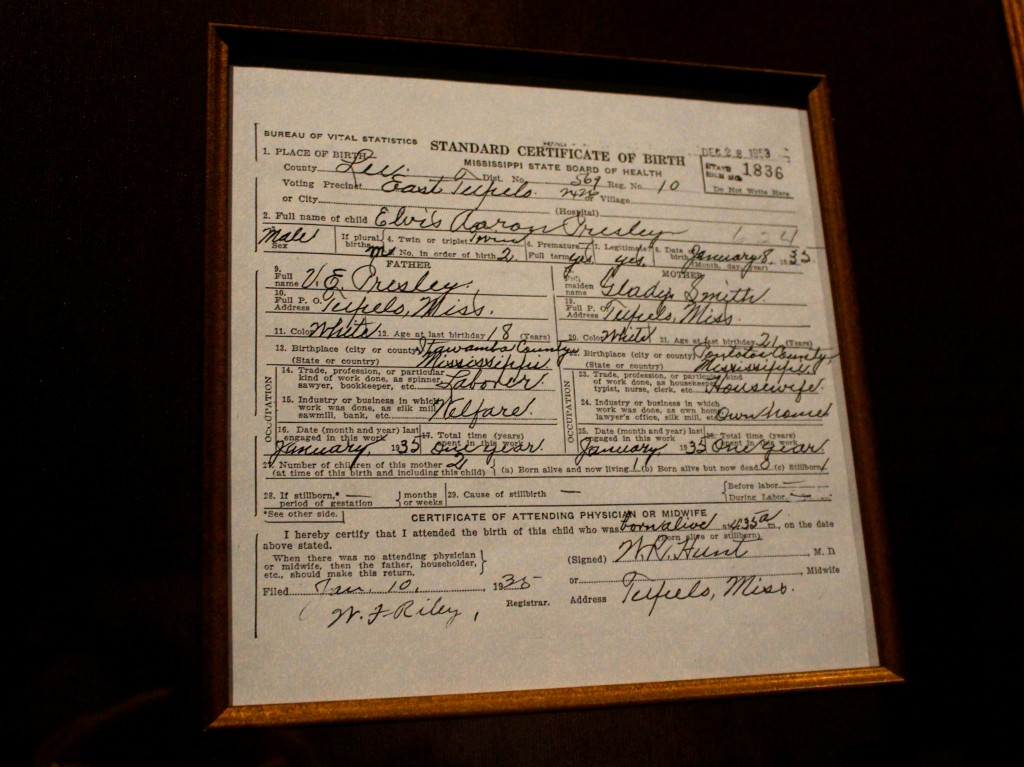 Elvis Presley's Birth Certificate