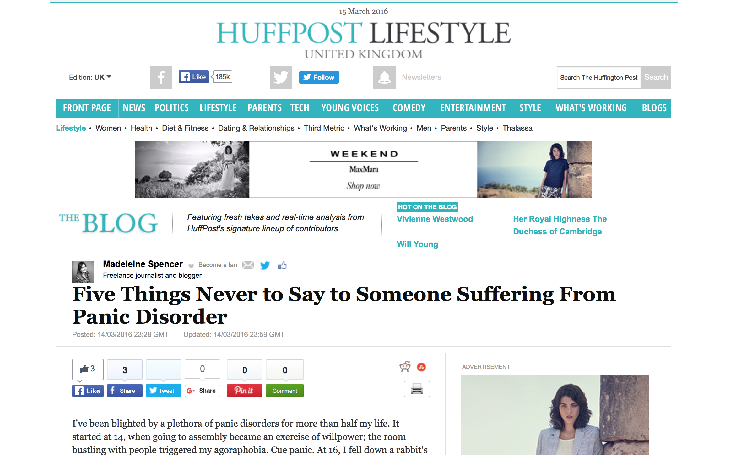 Panic Disorder for The Huffington Post