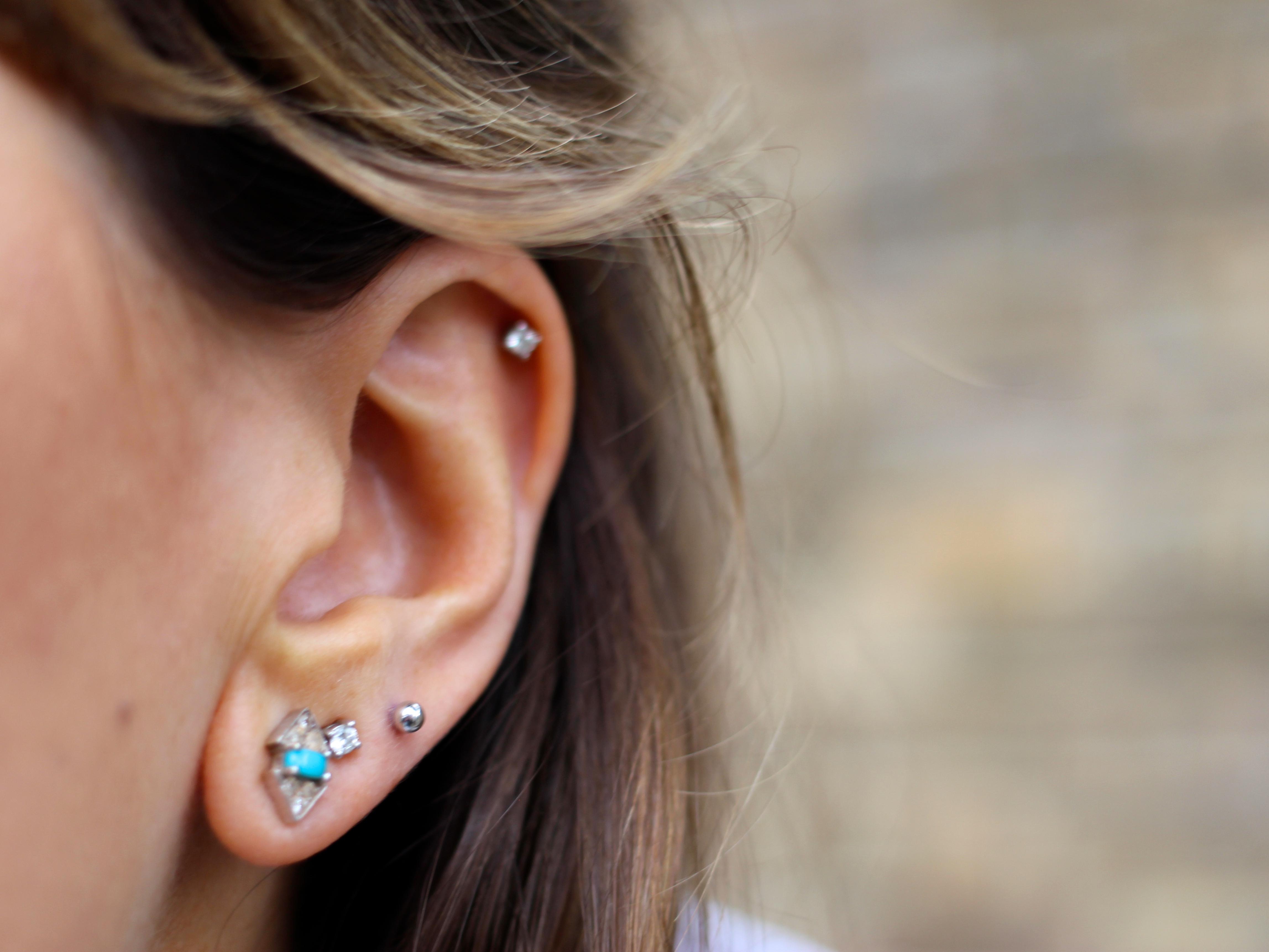 Four Piercings in ear