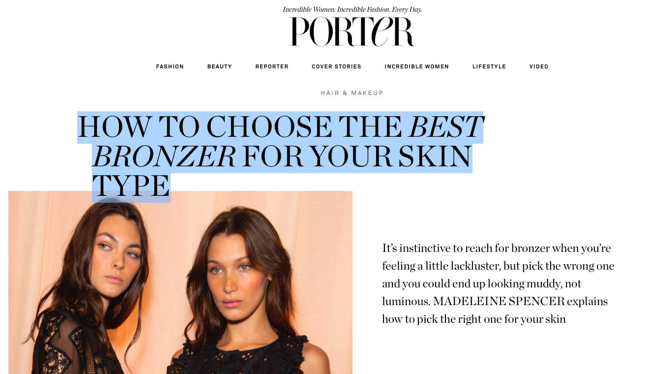 Bronzers for Porter